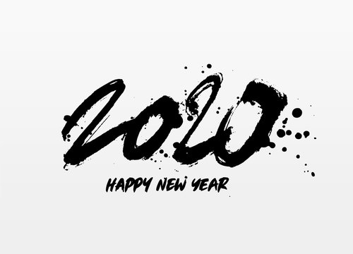 Happy new year 2020. Lettering. Brush Font.