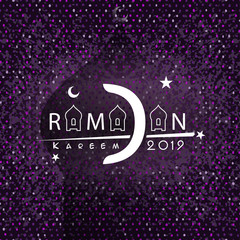 Ramadan kareem crescent moon and mosque dome with shadow