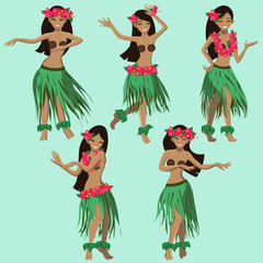hawaiian cartoon girls dancing hula vector image