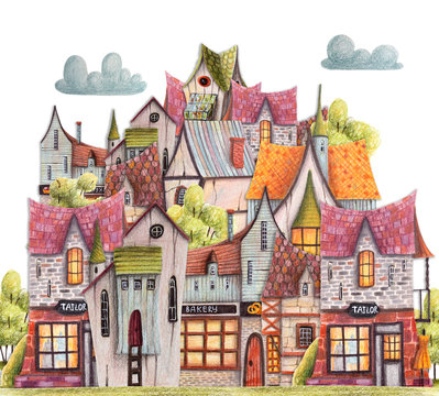 Colored pencils city with cafe, houses, greenhouse. Hand drawn illustration.