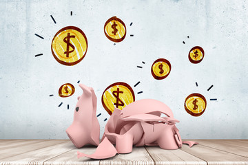 3d rendering of broken piggy bank on wooden floor against wall background with yellow coins drawn on it.