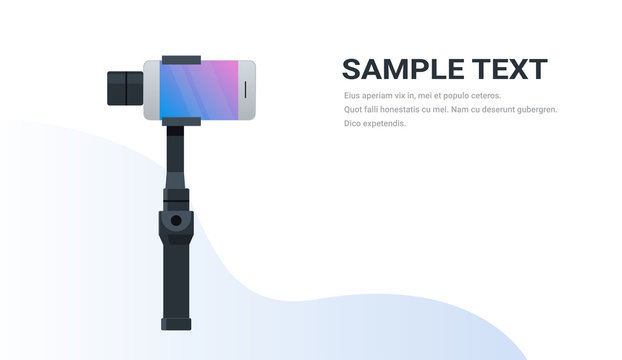 3-axis new generation stabilizer for smartphone device mobile gimbal and smart phone copy space flat horizontal isolated