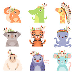Cute Animals Wearing Headdress with Feathers, Leaves and Flowers Set, Penguin, Lamb, Octopus, Tiger, Koala, Giraffe, Crocodile, Squirrel in Feathered Headgears Vector Illustration