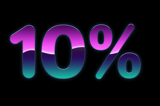 Bright colors 10% discount purple, blue, pink gradients, promotion sale percent made of glowing neon sign on black background, offer label.