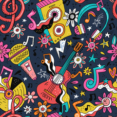 Rock n roll doodle vector seamless pattern