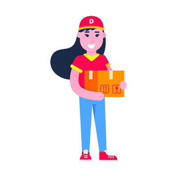 Fast delivery girl character flat style design vector illustration. Delivery woman with the box in her hands. Symbol of delivery company. Fast and free.