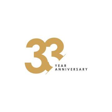 33 Year Anniversary Vector Template Design Illustration
