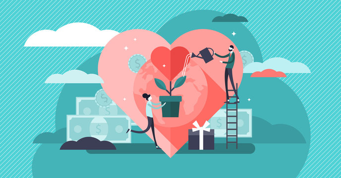 Philanthropy vector illustration. Tiny voluntary charity persons concept.