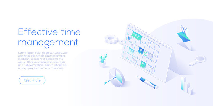 Effective time management isometric vector illustration. Task prioritizing organization for effective  productivity. Job schedule optimization concept. Web banner layout template.