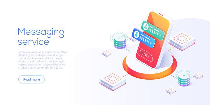 Mesaging service concept in isometric vector illustration. Electronic messenger app for smartphone. Webmail or mobile application layout for website landing header.
