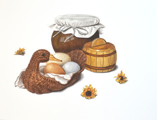 Three colorful eggs in a basket in the shape. Watercolor hand drawn