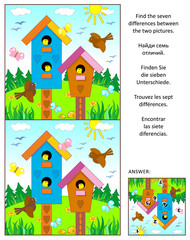 Spring, Easter or summer visual puzzle with birdhouses, birds and nestlings: Find the seven differences between the two pictures. Answer included.