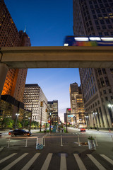 Street view of downtown area of Detroit in the United State