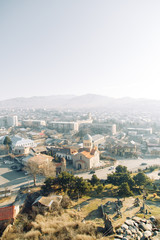 Panoramas of the most beautiful places in Georgia. Jvari and Gori at dawn.