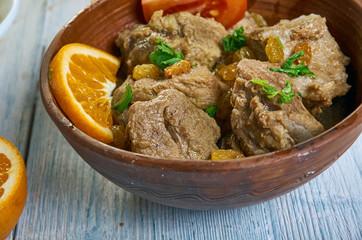 Moroccan Lamb Tagine With Raisins, Almonds
