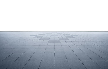 Wide perspective empty concrete marble floor isolated on white background .