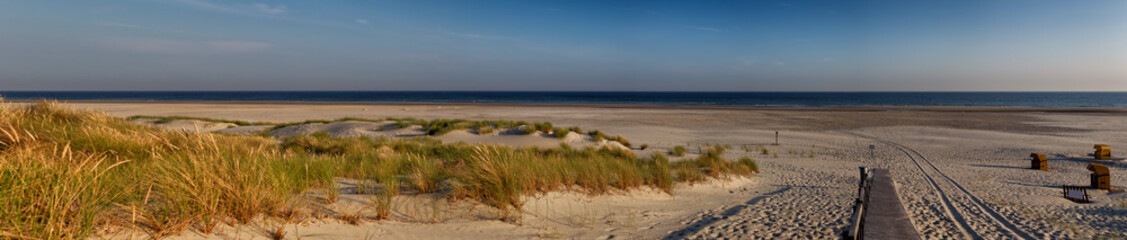 Fototapete - Beach on the East Frisian Island Juist in the North Sea, Germany, in morning light.