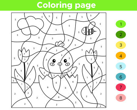 Educational number coloring page for preschool children. Vector kawaii chick hatched from egg. Spring flowers.