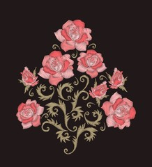 Rose bouquet. Embroidery design with pink stitched flowers. Embroidered floral pattern.