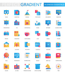 Vector set of trendy flat gradient Business essential icons.