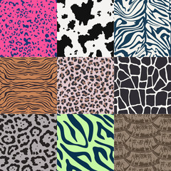 repeated wildlife animal skin textured pattern background - Vector