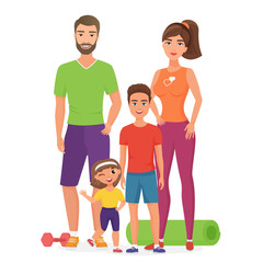 Sport lifestyle healthy young family with cute kids. Father, mother, son and daughter involved in fitness activity. Sport family cartoon vector illustration isolated.