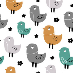 vector seamless background pattern with funny baby doodle birds for fabric, textile,wallpaper,wrapping paper, notebook covers,background