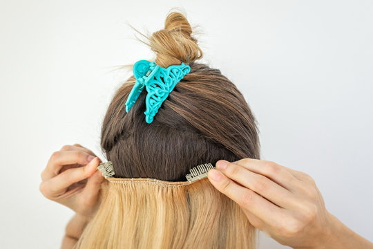 Girl with remy remi human natural, blonde hair clip in extensions