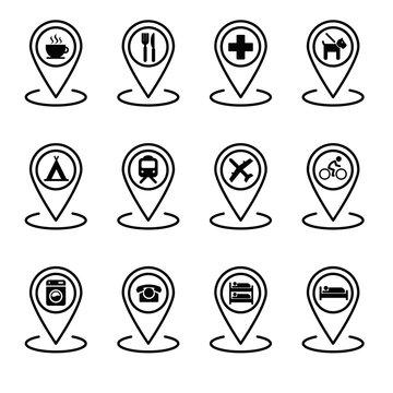 Géolocalisation emplacements carte et points intérêts