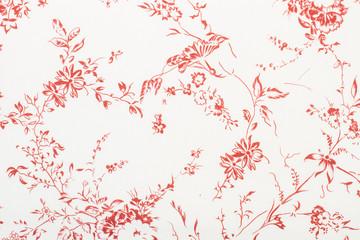 Textura de tela con flores rojas Wall mural