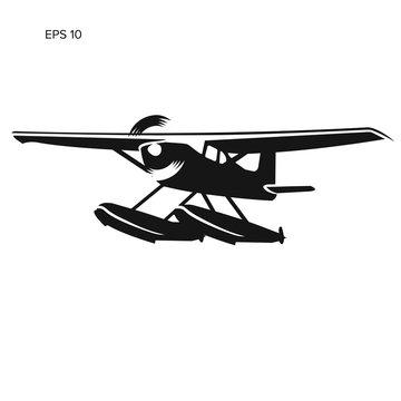 Small seaplane isolated vector illustration