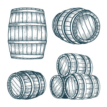 Barrel. Oak barrel hand drawn vector illustrations set. Wooden keg sketch drawing label.