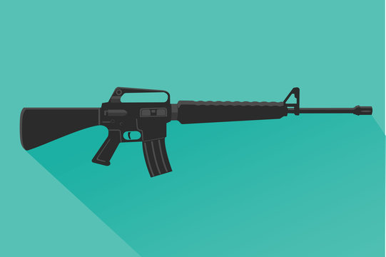 Legendary assault rifle vector illustration flat design.