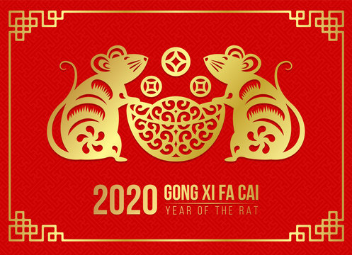 Happy chinese new year 2020 card with Gold paper cut twin rat zodiac hold money coin ingot on red background vector design