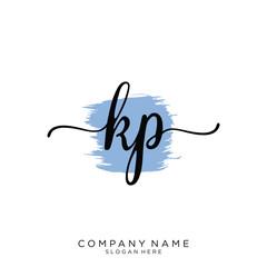 KP Initial handwriting logo vector
