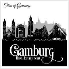 Gamburg - City in Germany. Detailed architecture. Trendy vector illustration.