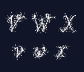 Vector sparkler alphabet font VWX letters for birthday and new year