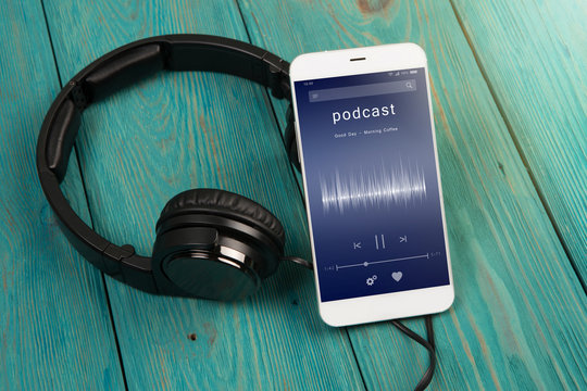 Listen podcast online concept - online music player app on smartphone