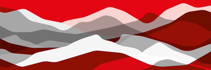 Red and gray mountains, translucent waves, abstract glass shapes, modern background, vector design Illustration for you project