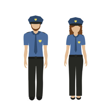man and woman character policeman and policewoman in uniform isolated on white background vector illustration EPS10
