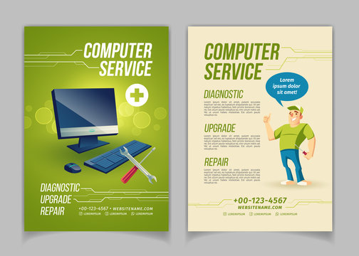 Computer maintain, upgrade and repair service cartoon vector ad brochure, flyer pages template. Work tools and personal computer, happy smiling repairman or technician showing thumbs up illustration