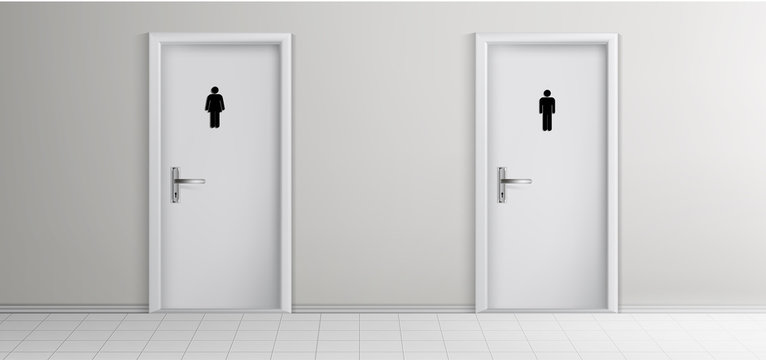 Public toilet male, female visitors entrances 3d realistic vector with corridor with tilled floor and two white doors with metal handles and man, woman pictogram illustration. Gender concept template