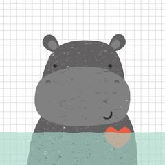 Cute hippopotamus in water. Kids hand drawn print. Vector illustration.