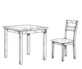 table and chair sketch, lines