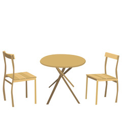 isolated table round and two chairs brown