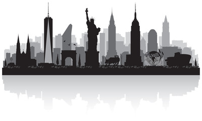 Fototapete - New York city skyline silhouette