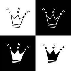 Cute monochrome crown icon set for web sites and apps. Sweet doodle black and white crown icon set. Isolated funny vector crown icon set for various projects.