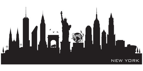 Fototapete - New York city skyline vector silhouette