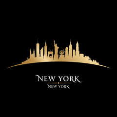 Wall Mural - New York city silhouette black background