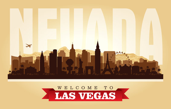 Las Vegas Nevada city skyline vector silhouette